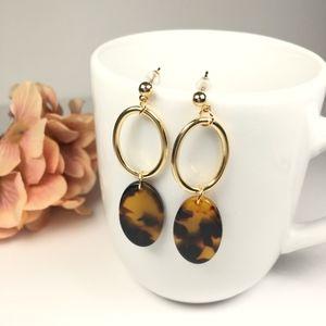 Jewelry - Leopard Oval Drop Dangle Tortoiseshell Earrings